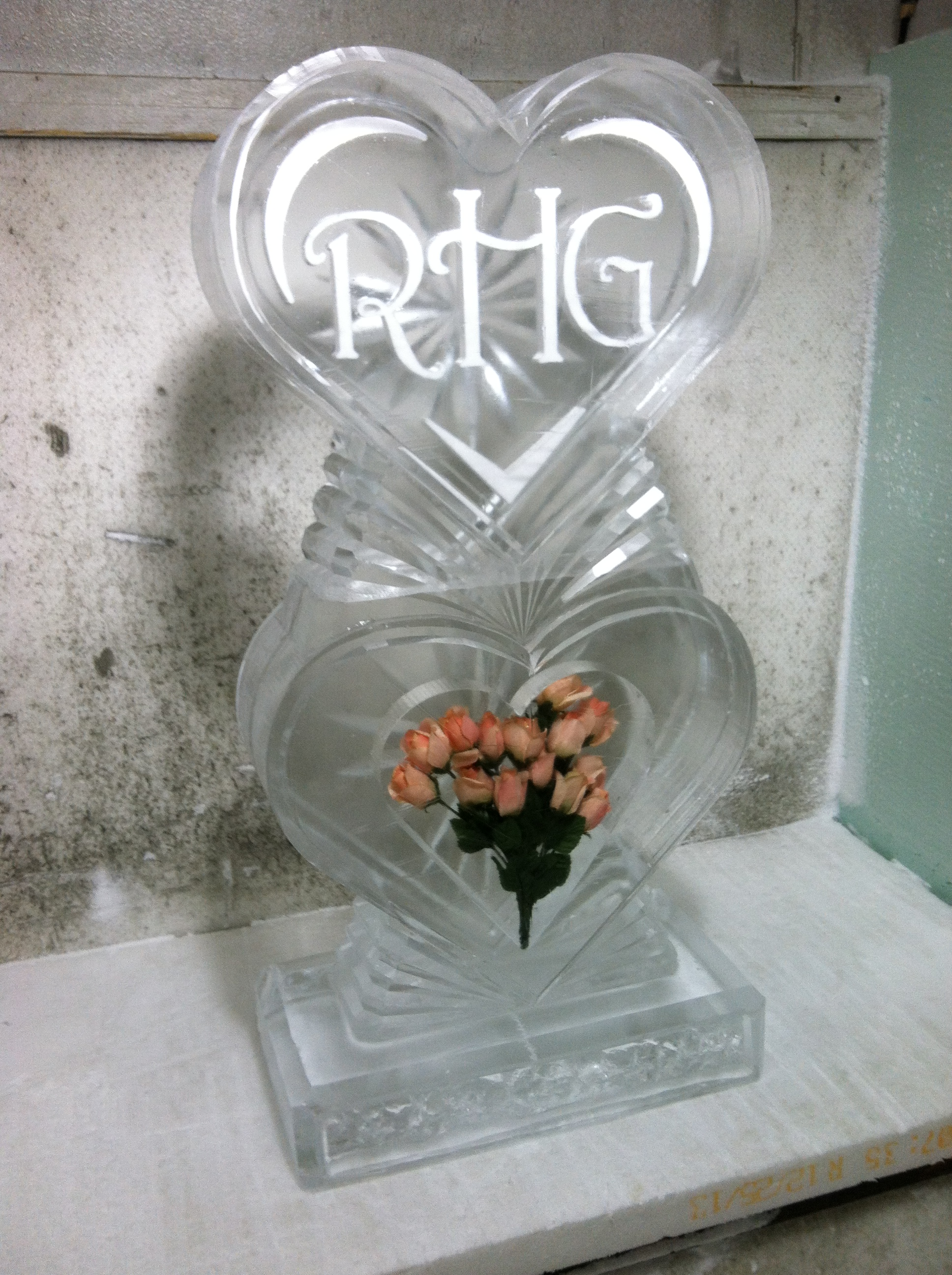 Monogram with Roses on Base