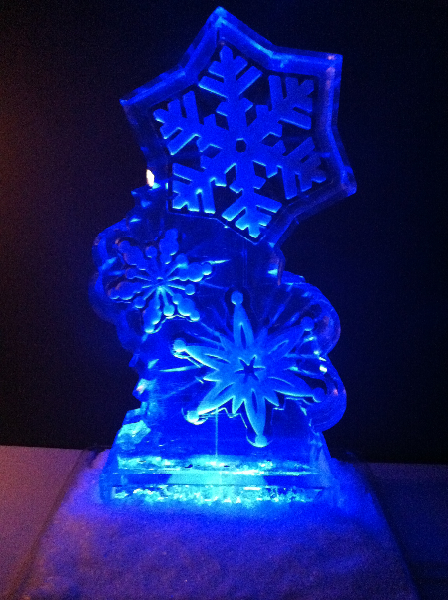 Snowflakes with Blue Lighting